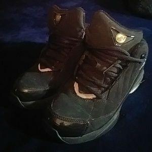 Shoes - Jordans black with silver reflectors